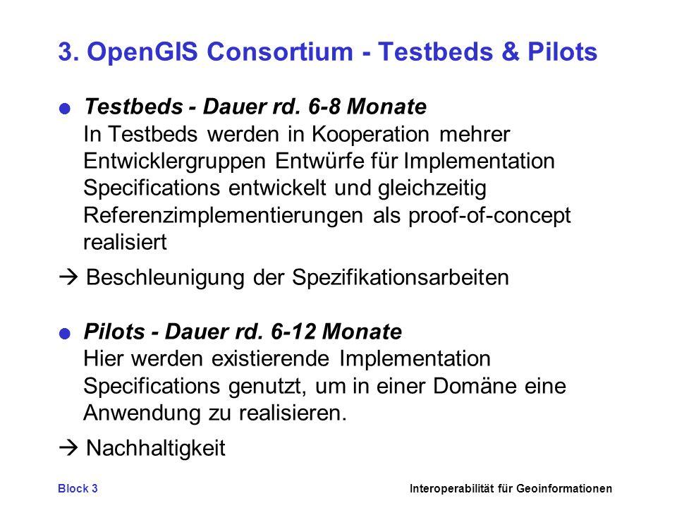 3. OpenGIS Consortium - Testbeds & Pilots