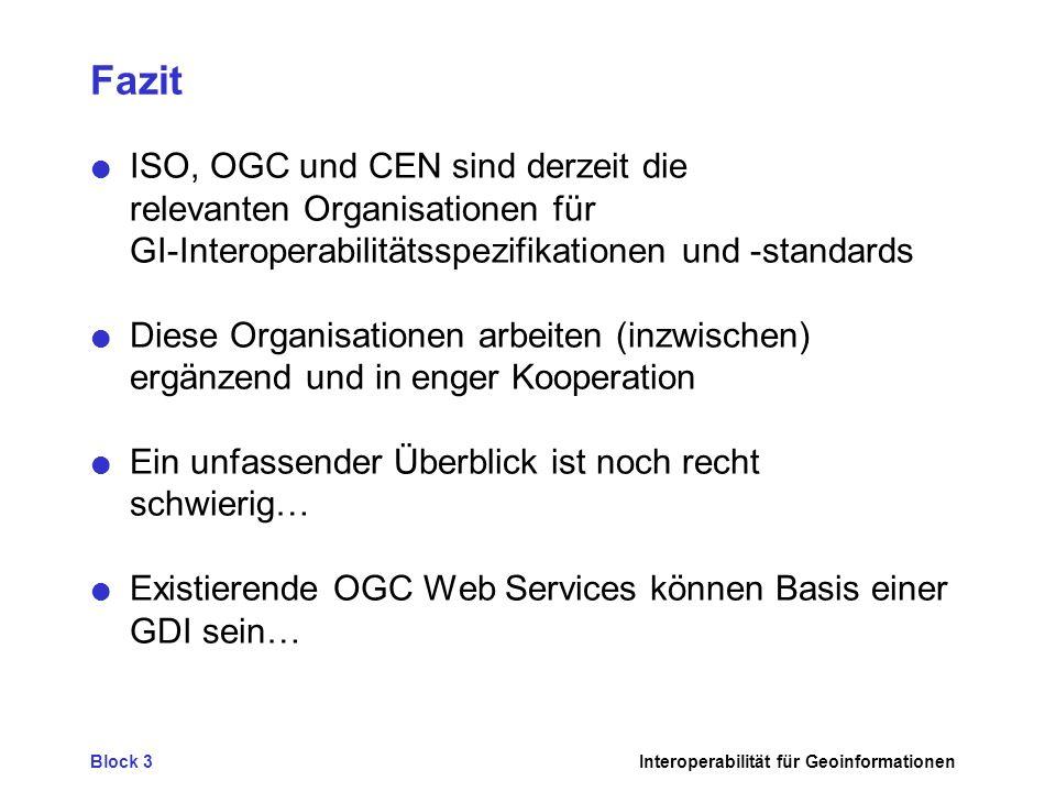 Fazit ISO, OGC und CEN sind derzeit die relevanten Organisationen für GI-Interoperabilitätsspezifikationen und -standards.
