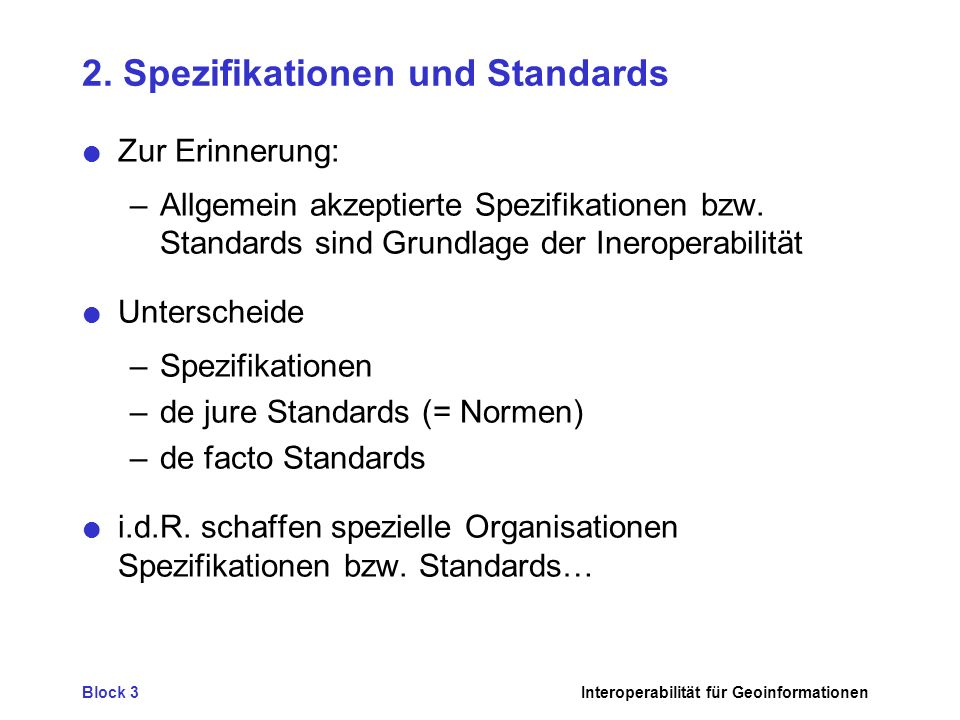 2. Spezifikationen und Standards