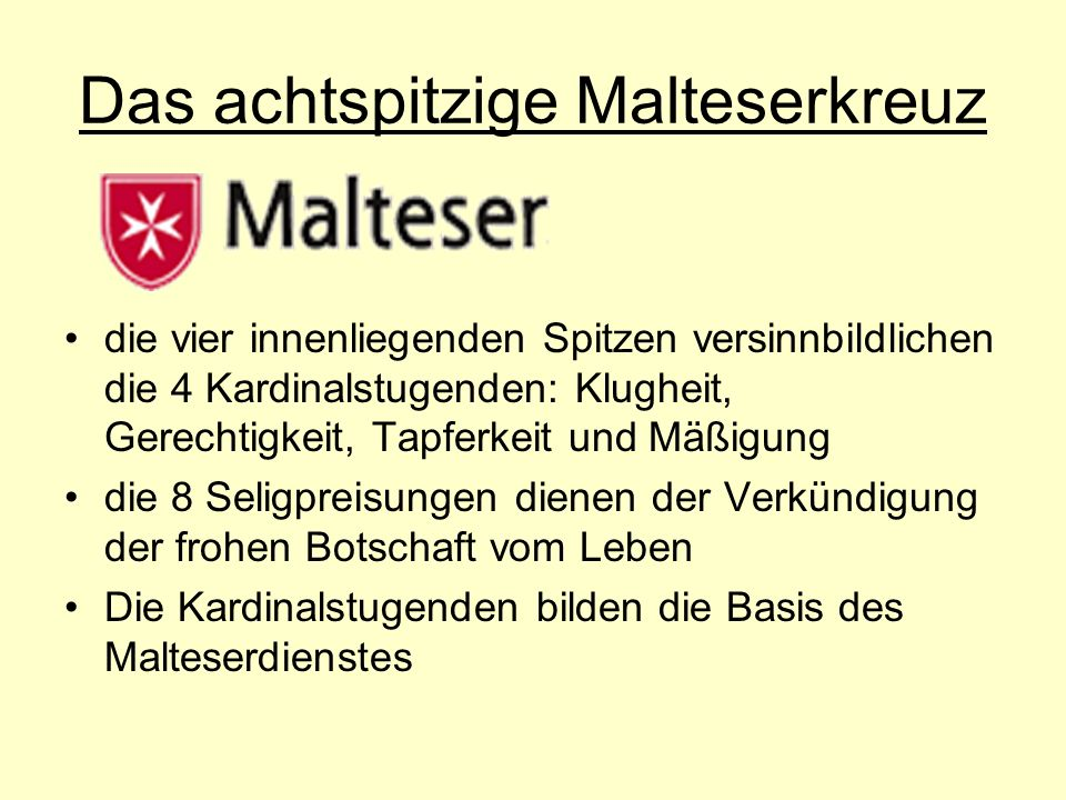 Das achtspitzige Malteserkreuz