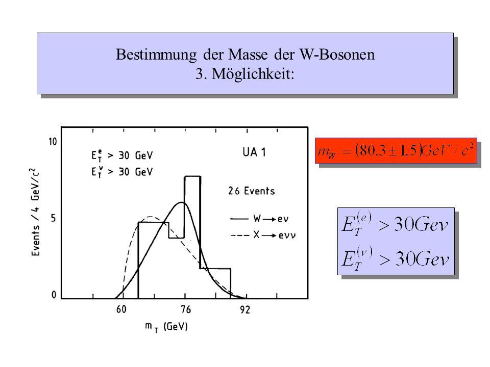 Bestimmung der Masse der W-Bosonen 3. Möglichkeit: