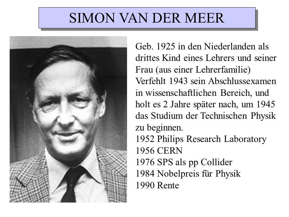 SIMON VAN DER MEER Geb. 1925 in den Niederlanden als drittes Kind eines Lehrers und seiner Frau (aus einer Lehrerfamilie)