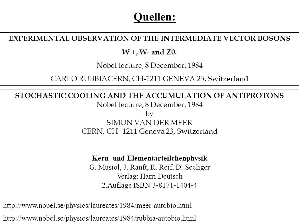 Quellen: EXPERIMENTAL OBSERVATION OF THE INTERMEDIATE VECTOR BOSONS