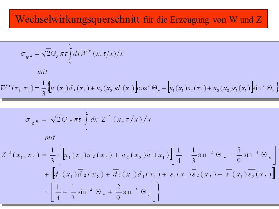 Wechselwirkungsquerschnitt für die Erzeugung von W und Z