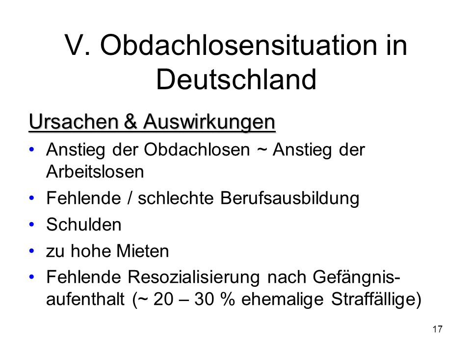 V. Obdachlosensituation in Deutschland