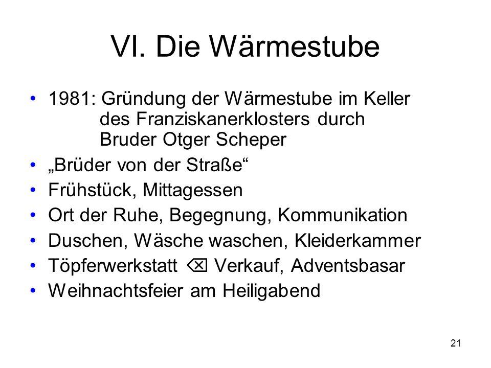 VI. Die Wärmestube 1981: Gründung der Wärmestube im Keller des Franziskanerklosters durch Bruder Otger Scheper.