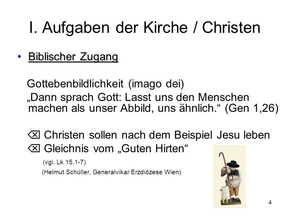 I. Aufgaben der Kirche / Christen