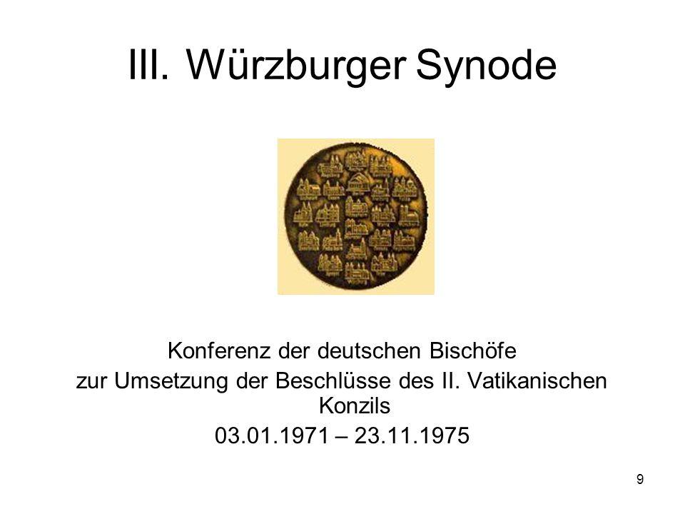 III. Würzburger Synode Konferenz der deutschen Bischöfe