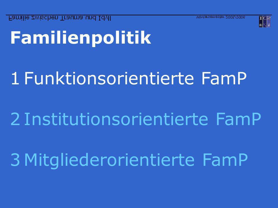 Familienpolitik Funktionsorientierte FamP Institutionsorientierte FamP Mitgliederorientierte FamP