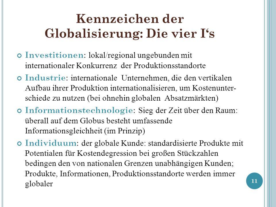 Kennzeichen der Globalisierung: Die vier I's