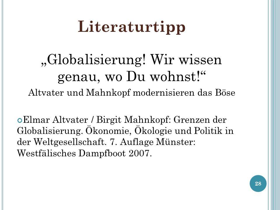 """Literaturtipp """"Globalisierung! Wir wissen genau, wo Du wohnst!"""
