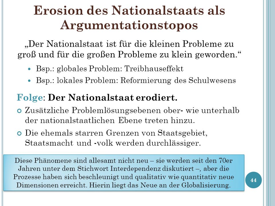 Erosion des Nationalstaats als Argumentationstopos