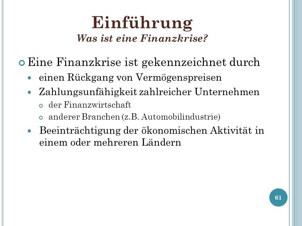 Einführung Was ist eine Finanzkrise