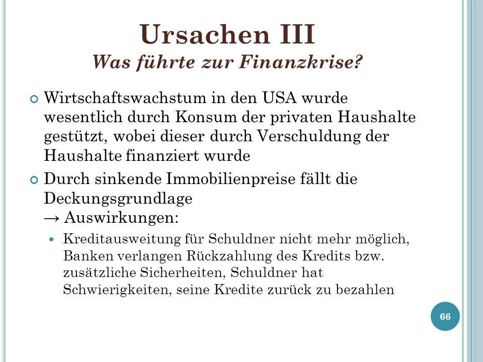 Ursachen III Was führte zur Finanzkrise