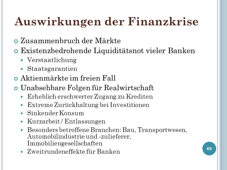 Auswirkungen der Finanzkrise