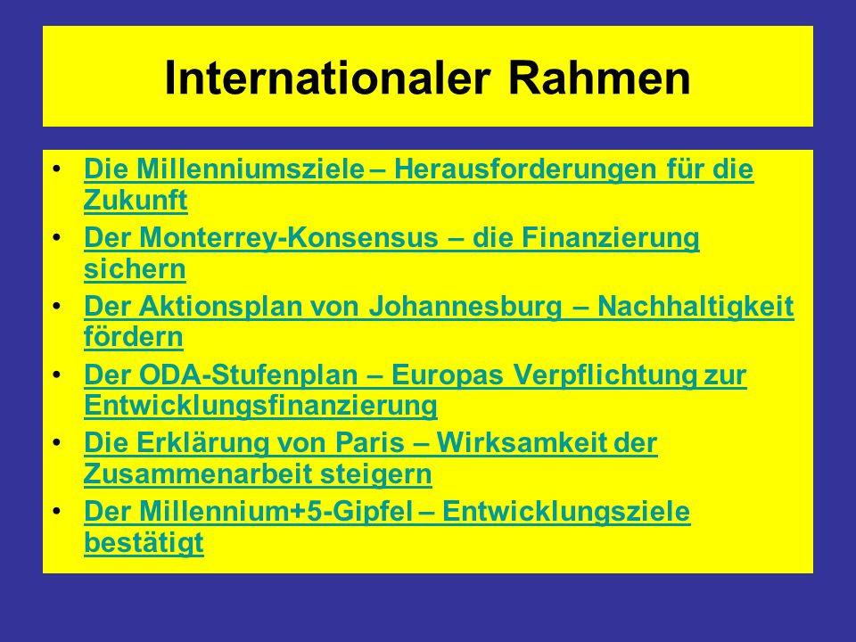 Internationaler Rahmen