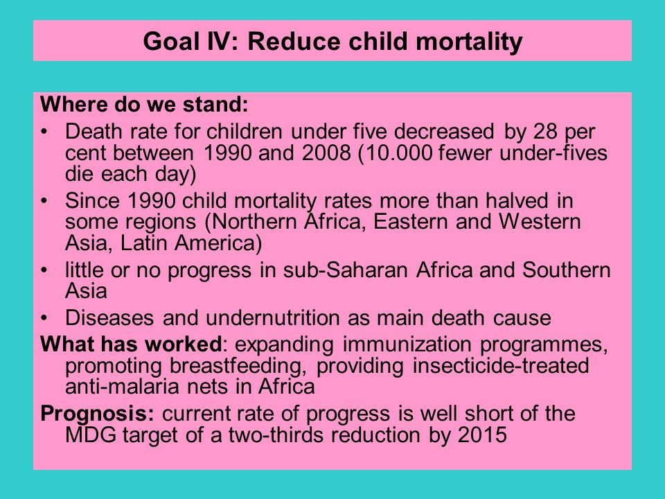 Goal IV: Reduce child mortality