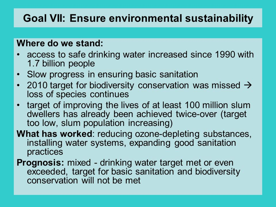 Goal VII: Ensure environmental sustainability
