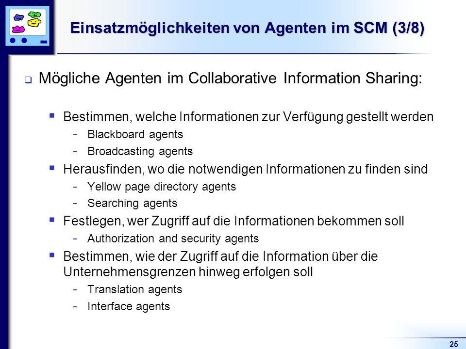 Einsatzmöglichkeiten von Agenten im SCM (3/8)