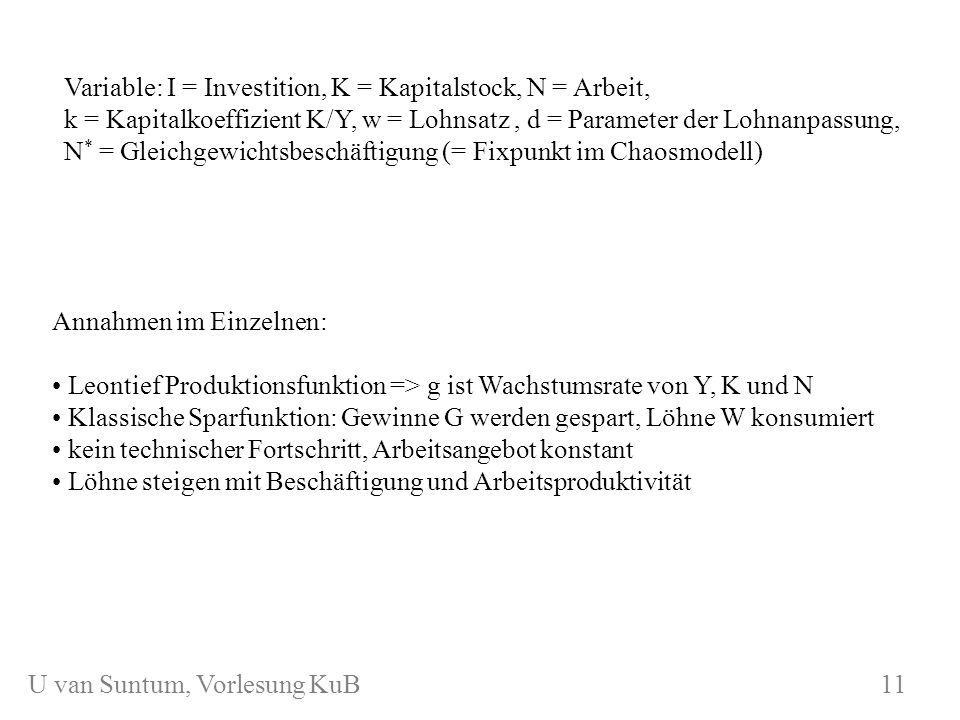 Variable: I = Investition, K = Kapitalstock, N = Arbeit,