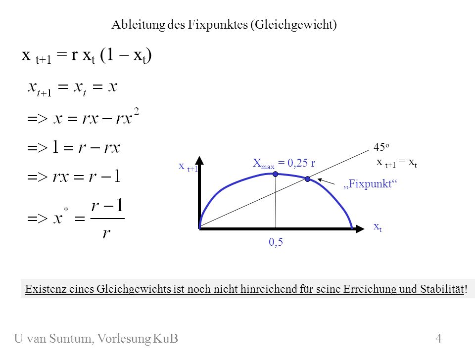 Ableitung des Fixpunktes (Gleichgewicht)
