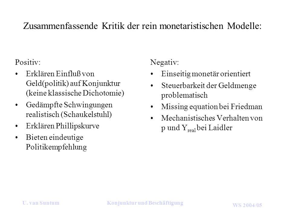 Zusammenfassende Kritik der rein monetaristischen Modelle: