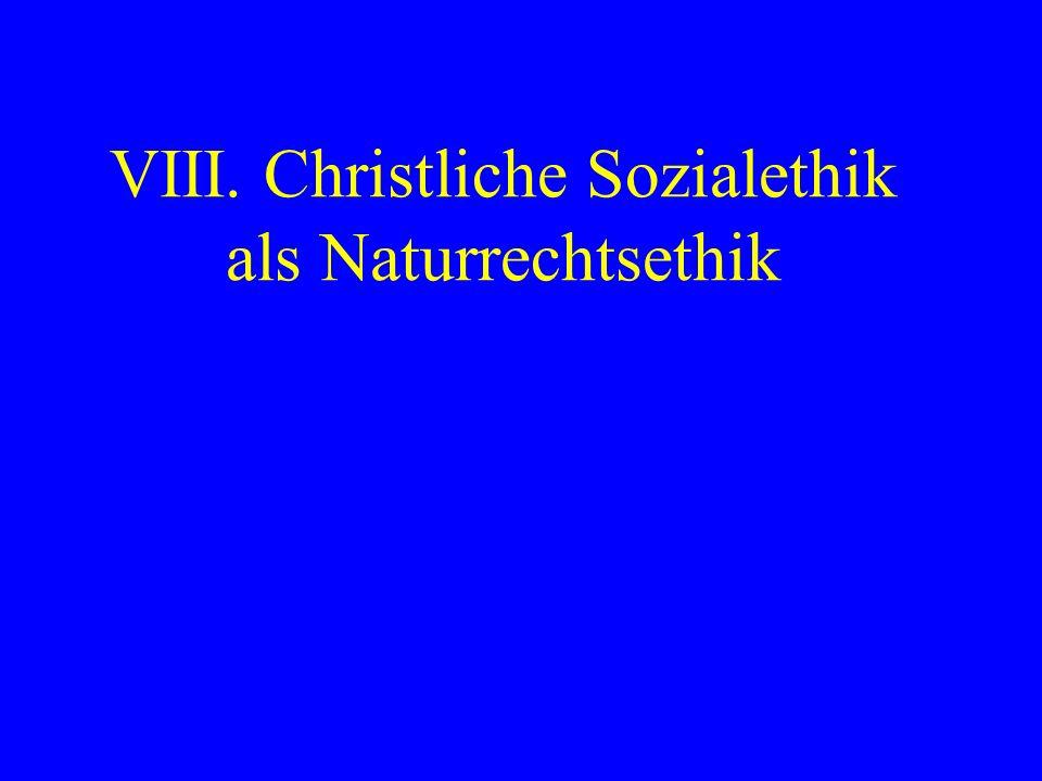 VIII. Christliche Sozialethik als Naturrechtsethik