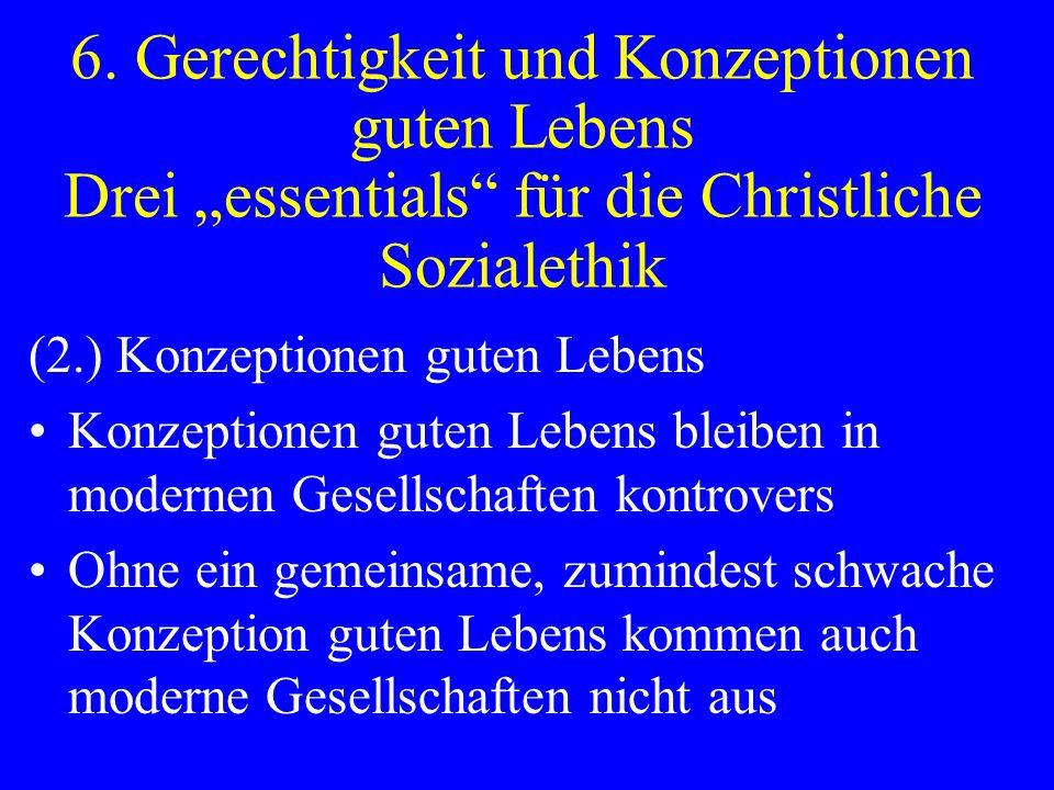 """6. Gerechtigkeit und Konzeptionen guten Lebens Drei """"essentials für die Christliche Sozialethik"""