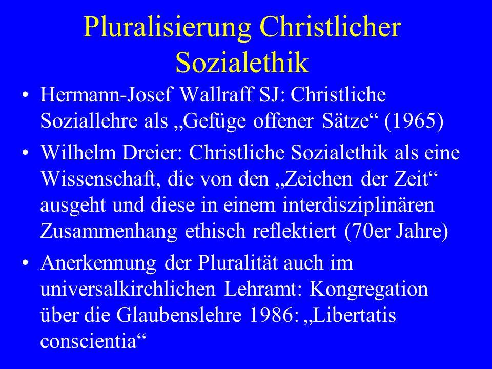 Pluralisierung Christlicher Sozialethik
