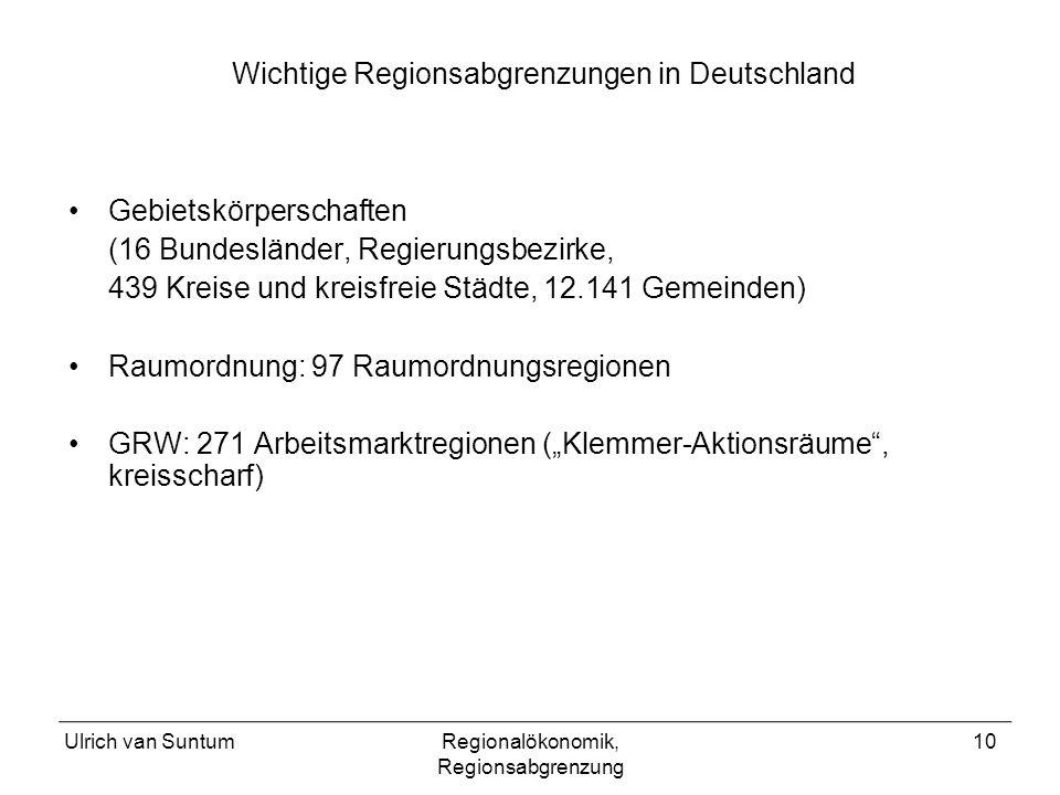 Wichtige Regionsabgrenzungen in Deutschland