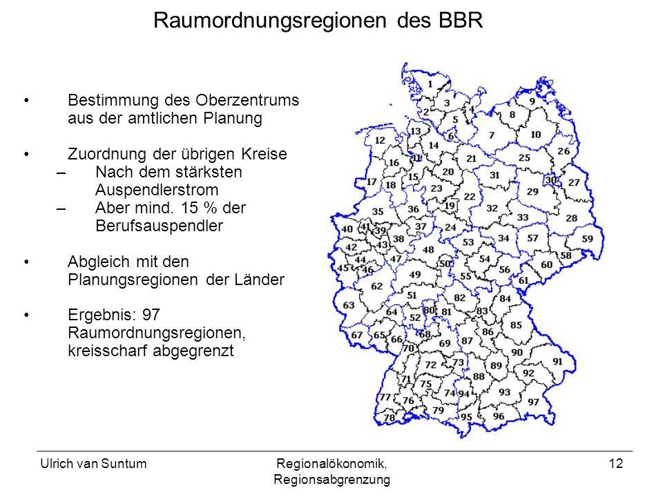 Raumordnungsregionen des BBR