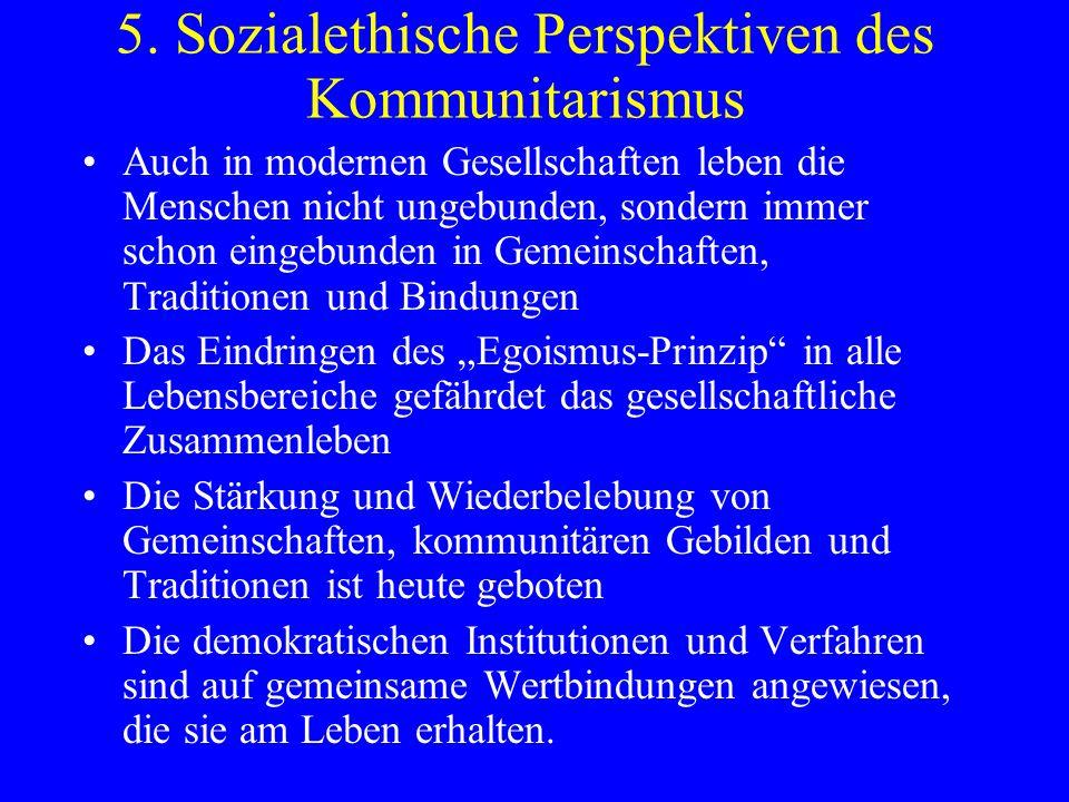 5. Sozialethische Perspektiven des Kommunitarismus