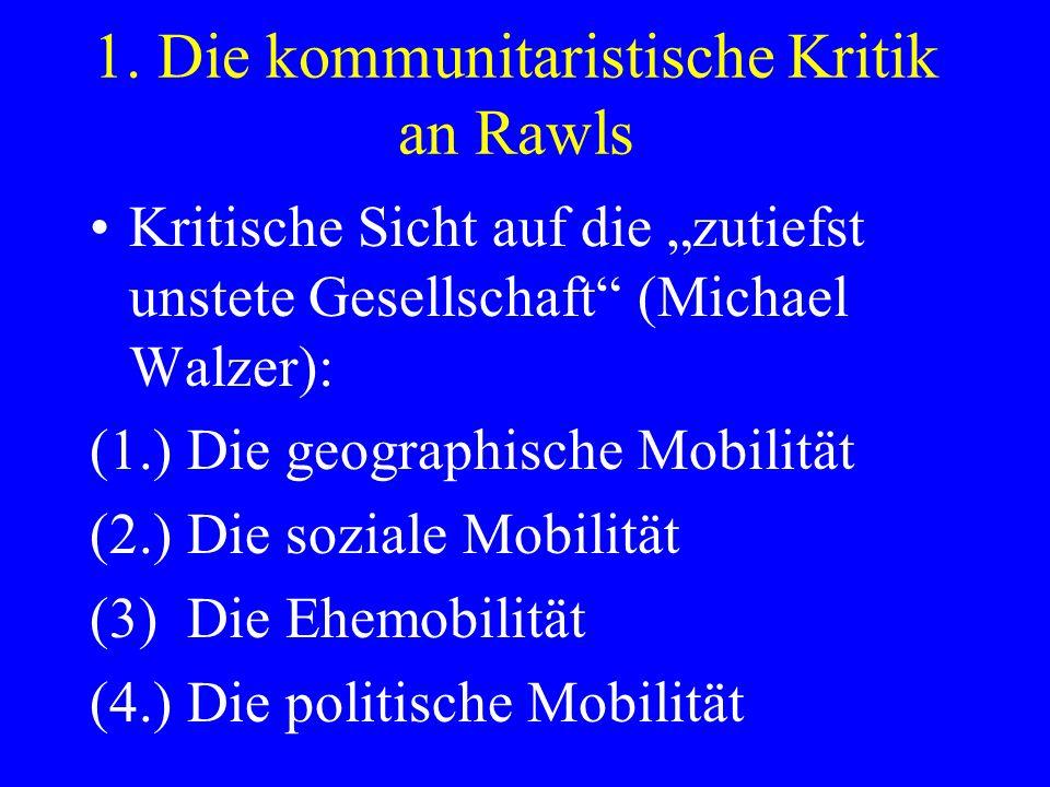 1. Die kommunitaristische Kritik an Rawls