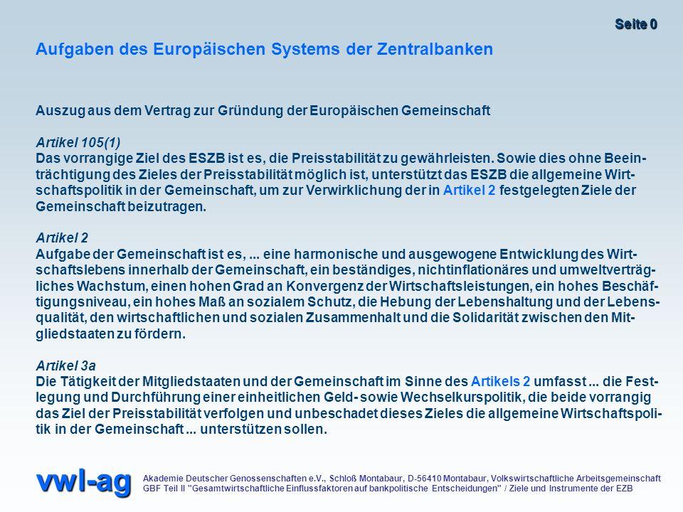 Aufgaben des Europäischen Systems der Zentralbanken
