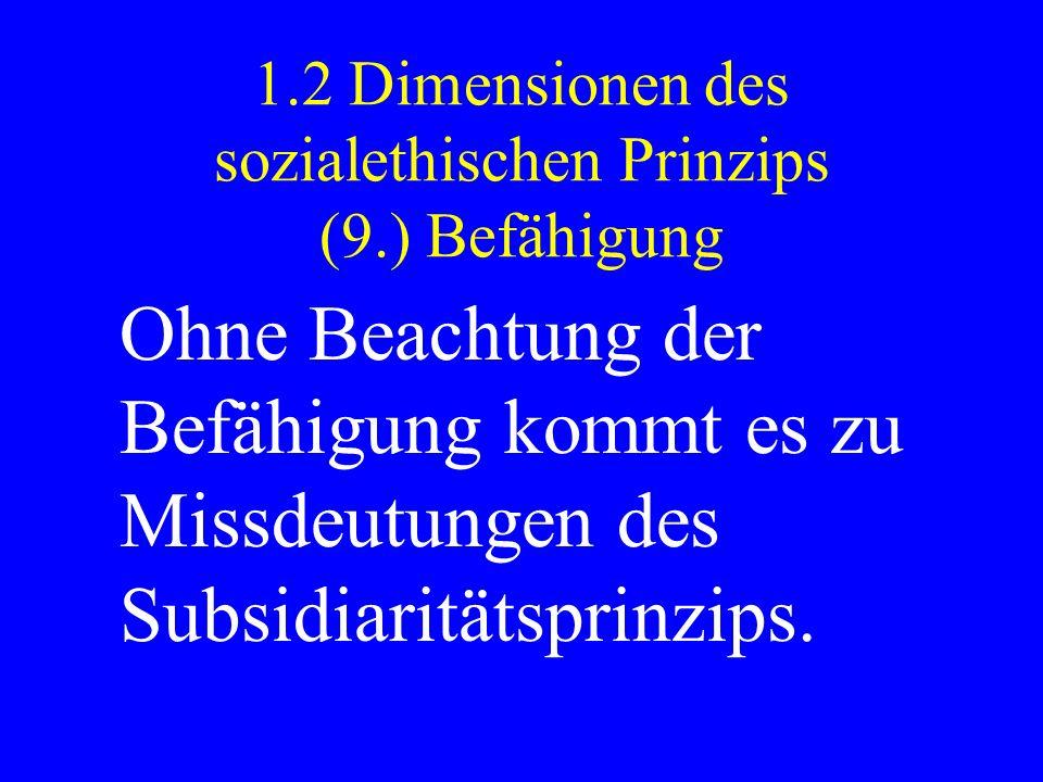 1.2 Dimensionen des sozialethischen Prinzips (9.) Befähigung