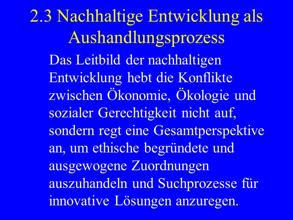 2.3 Nachhaltige Entwicklung als Aushandlungsprozess