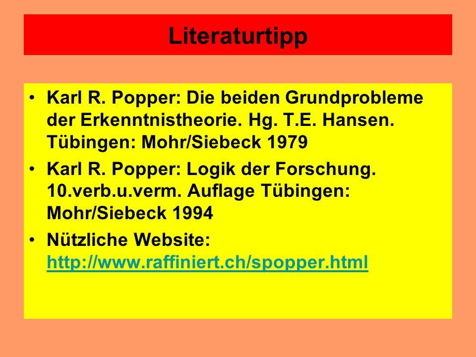 Literaturtipp Karl R. Popper: Die beiden Grundprobleme der Erkenntnistheorie. Hg. T.E. Hansen. Tübingen: Mohr/Siebeck 1979.