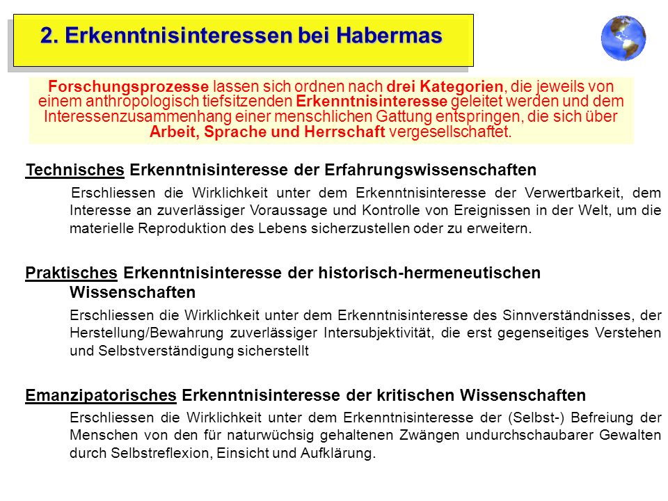 2. Erkenntnisinteressen bei Habermas