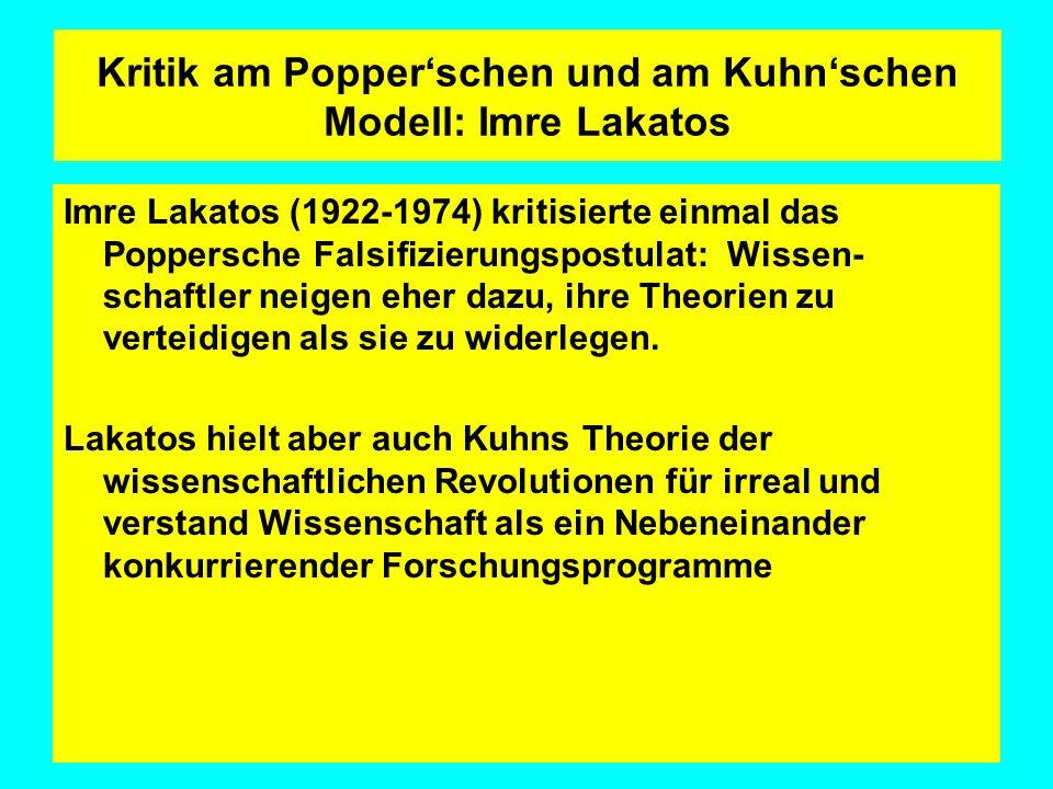 Kritik am Popper'schen und am Kuhn'schen Modell: Imre Lakatos
