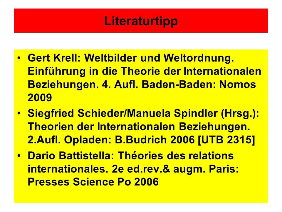 Literaturtipp Gert Krell: Weltbilder und Weltordnung. Einführung in die Theorie der Internationalen Beziehungen. 4. Aufl. Baden-Baden: Nomos 2009.