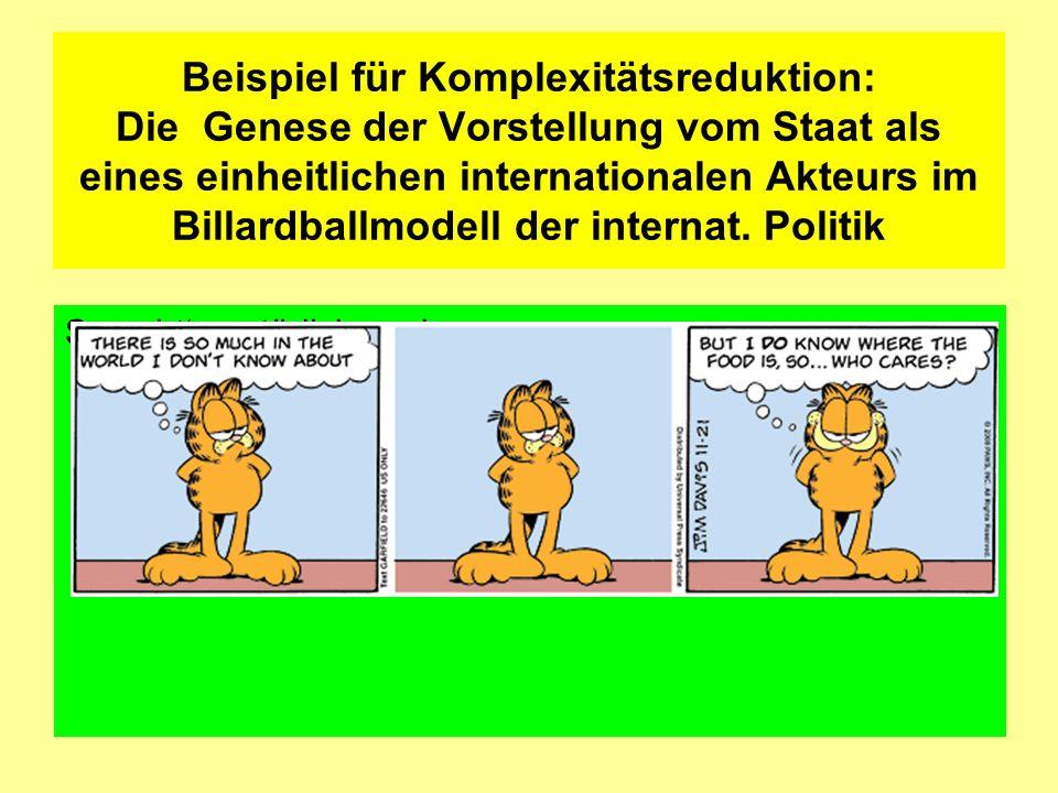 Beispiel für Komplexitätsreduktion: Die Genese der Vorstellung vom Staat als eines einheitlichen internationalen Akteurs im Billardballmodell der internat. Politik