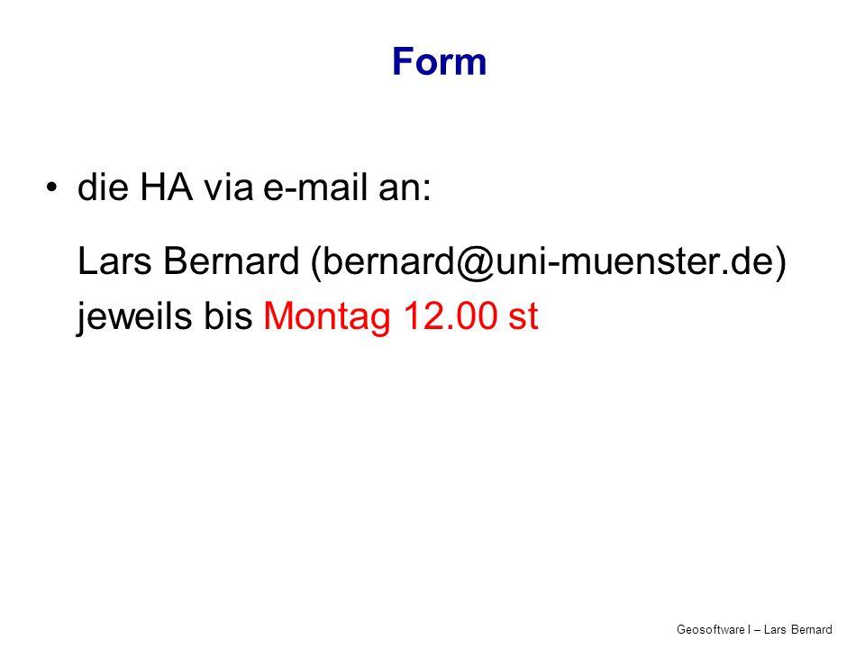Lars Bernard (bernard@uni-muenster.de) jeweils bis Montag 12.00 st