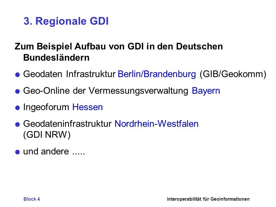 3. Regionale GDI Zum Beispiel Aufbau von GDI in den Deutschen Bundesländern. Geodaten Infrastruktur Berlin/Brandenburg (GIB/Geokomm)