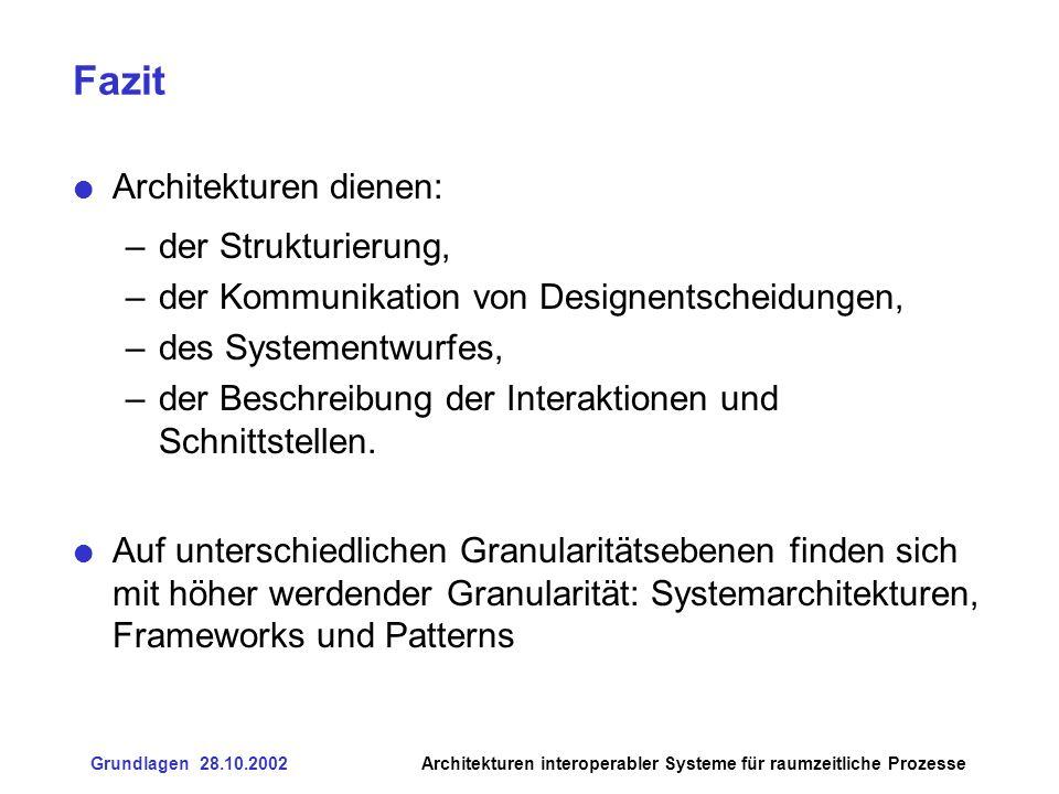 Fazit Architekturen dienen: der Strukturierung,