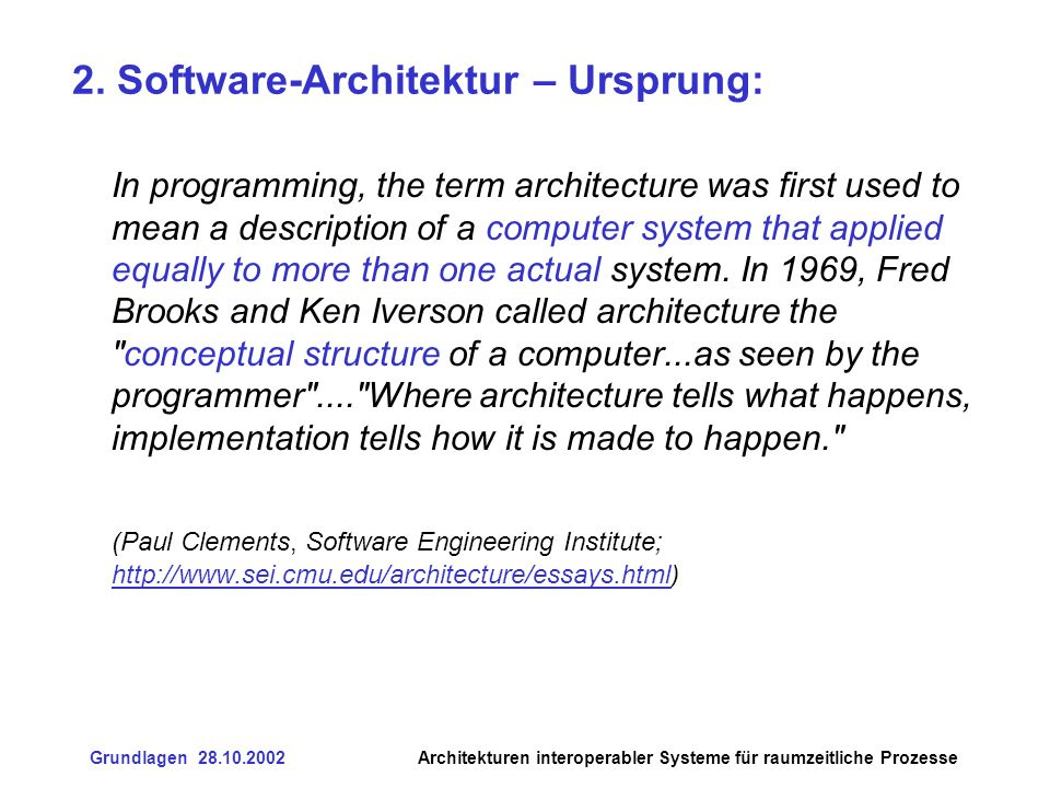 2. Software-Architektur – Ursprung: