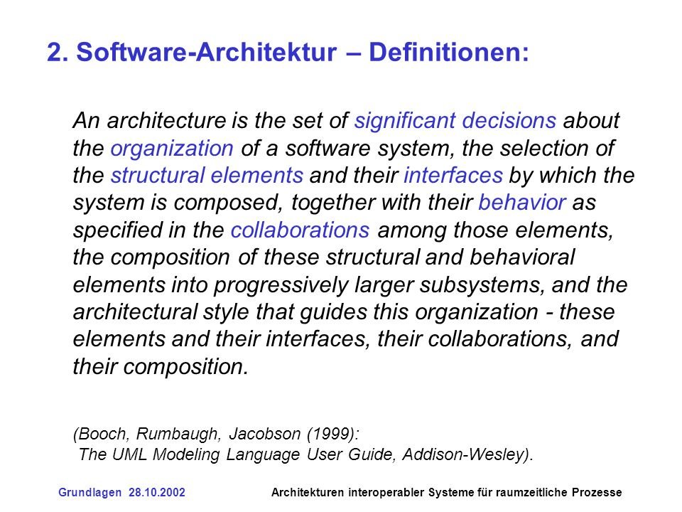 2. Software-Architektur – Definitionen: