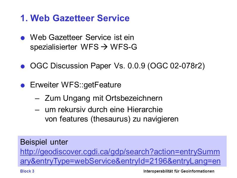1. Web Gazetteer Service Web Gazetteer Service ist ein spezialisierter WFS  WFS-G. OGC Discussion Paper Vs. 0.0.9 (OGC 02-078r2)