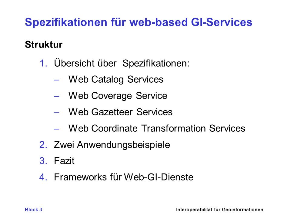 Spezifikationen für web-based GI-Services