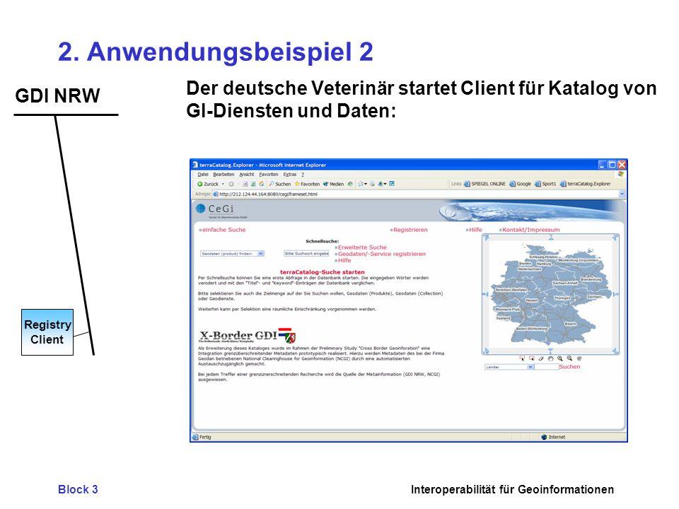 2. Anwendungsbeispiel 2 Der deutsche Veterinär startet Client für Katalog von GI-Diensten und Daten: