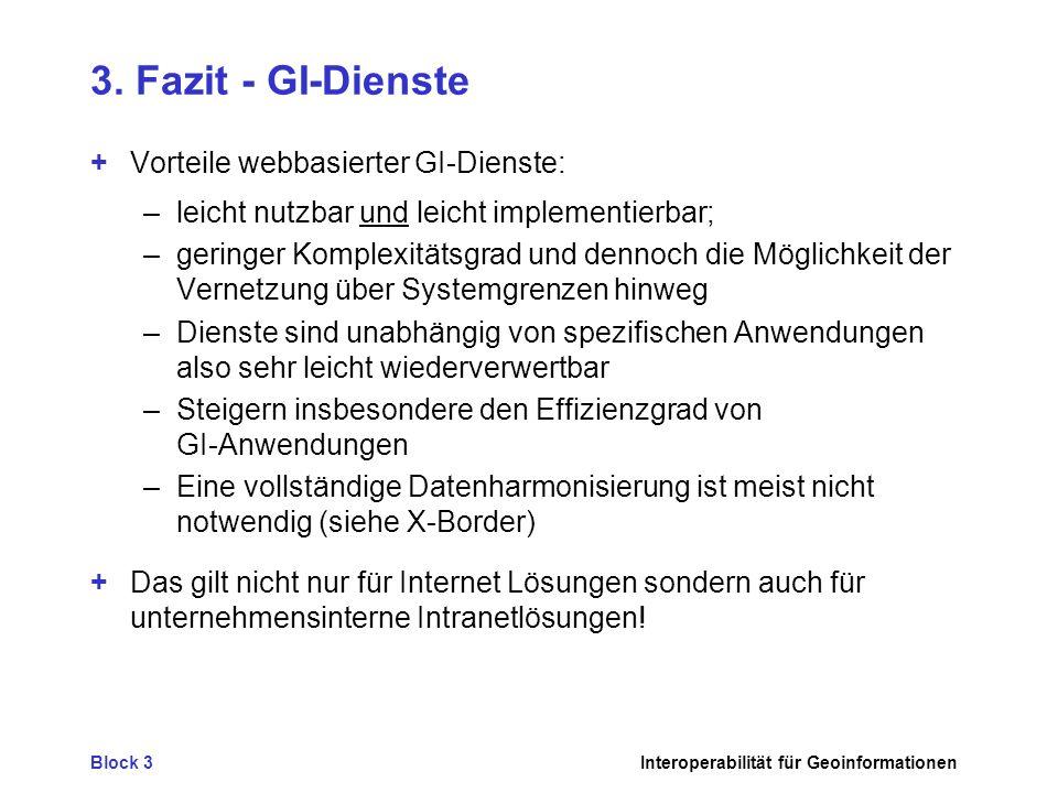 3. Fazit - GI-Dienste + Vorteile webbasierter GI-Dienste: